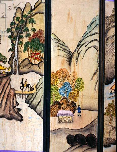 Two panels of an eight fold screen (natural pigments on paper)