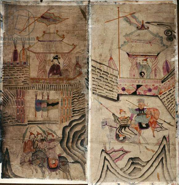 Two panels of an eight fold screen depicting 'A Story of Three Kingdoms' (natural pigments on paper)