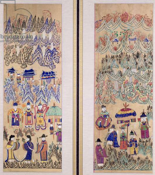 Two panels of an eight fold screen depicting 'Paintings of Shamanism' (natural pigments on paper)