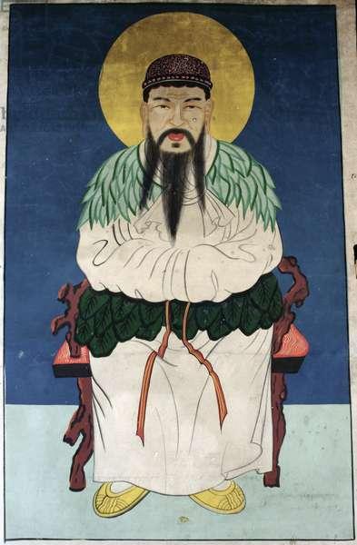 The man god Dangun (natural pigment on paper)