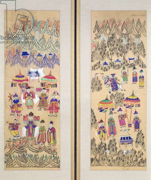 Two panels of an eight fold screen depicting 'Paintings of Shamanism' (colours on paper)