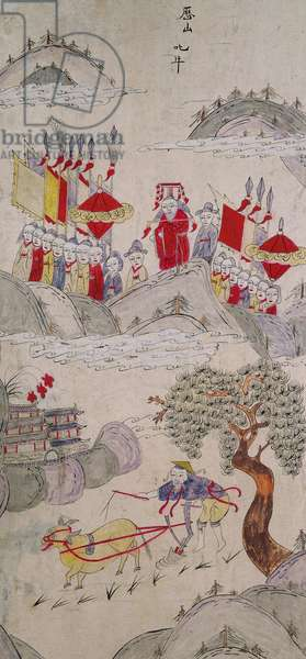 A panel from an eight fold screen depicting famous stories of China (natural pigments on paper)