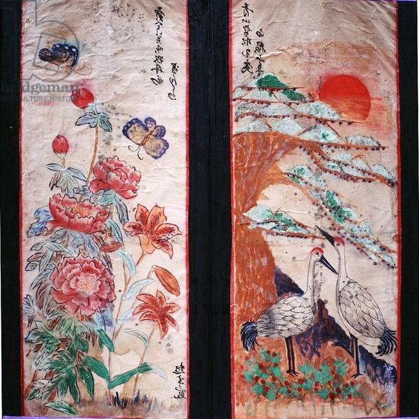 Two panels of an eight fold screen depicting birds and flowers (natural pigments on paper)