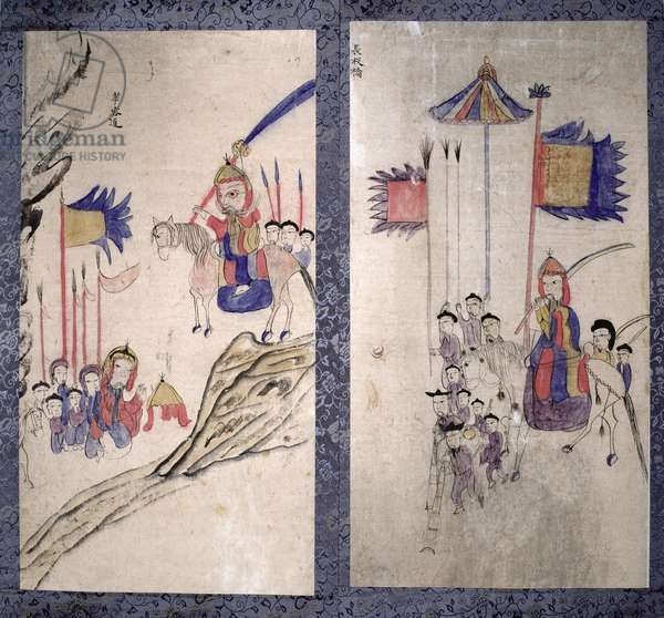A panel from an eight fold screen depicting a story of the three kingdoms (natural pigments on paper)