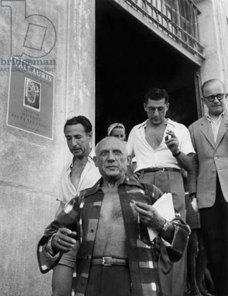 French poet Andre Verdet and Pablo Picasso in Vallauris c. 1950