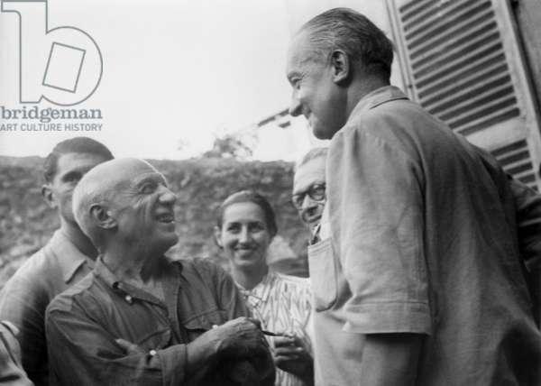 Artists Tristan Tzara, Pablo Picasso, his companion Francoise Gilot and Paul Eluard in Vallauris (France) c. 1950