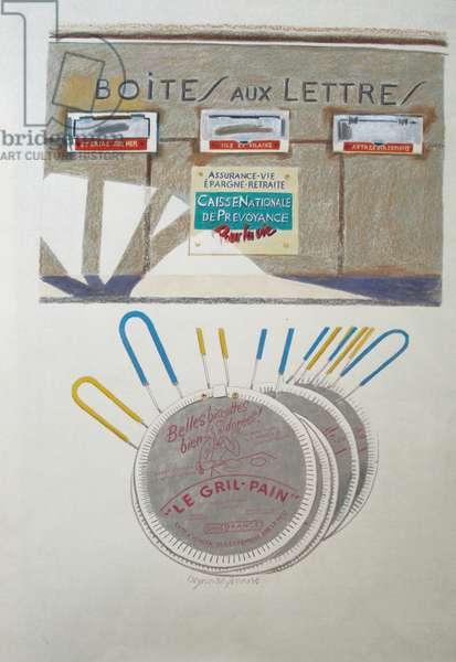 Boite aux Lettre, 1989 (coloured pencil)