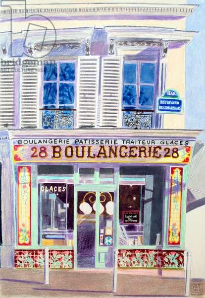 Boulangerie, 1992 (coloured pencil)