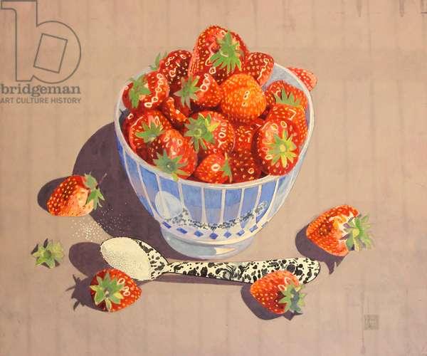 Strawberries & Sugar, c.1980-99 (tempera)
