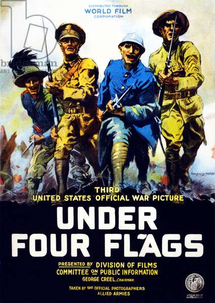 Poster advertising the film 'Under Four Flags', 1917 (colour litho)