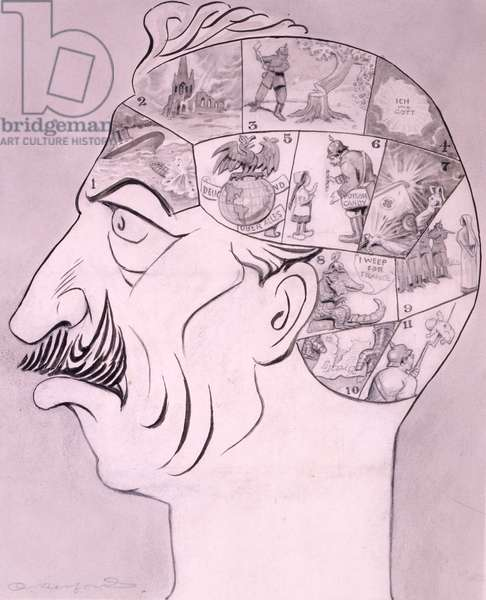 Phrenological chart of the German brain, published in 'Life' magazine, 1917 (litho)