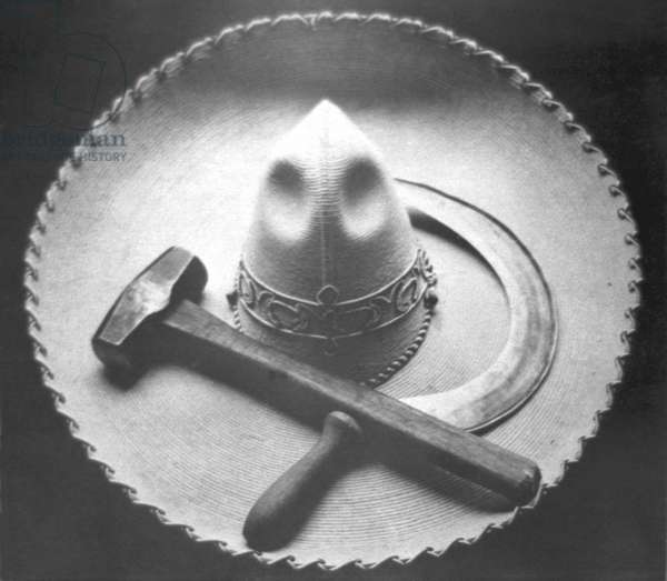 Mexican Revolution: Sombrero with Hammer and Sickle, Mexico City, 1927 (b/w photo)
