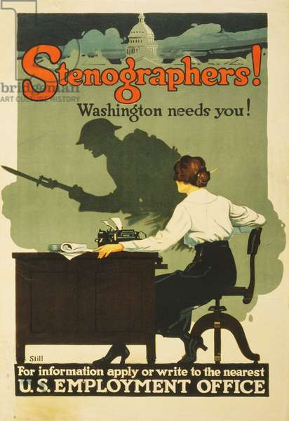 """Stenographers! Washington needs you!"", 1917 (colour litho)"