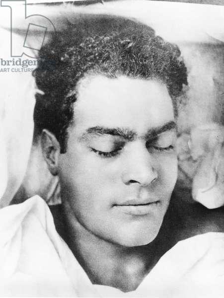Julio Antonio Mella on his Deathbed, Mexico City, 1928 (b/w photo)