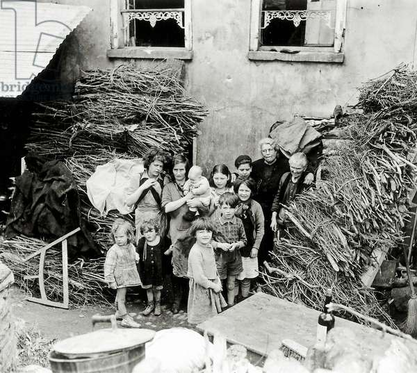 All these children and women came out of their shelters in Saint-Lô, Normandy, France, 26th July 1944 (b/w photo)