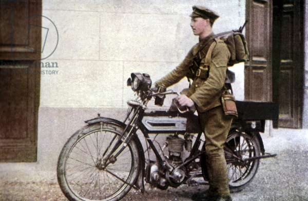 An English dispatch rider taking off during the Battle of the Marne east of Paris, September 1914 (autochrome)