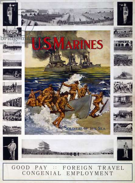 "U.S. Marines: ""Soldiers of the sea"", 1914-18 (colour litho)"