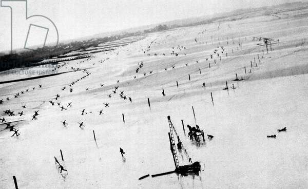 The coast in Normandy with German defence installations, Normandy, France, 1944 (b/w photo)