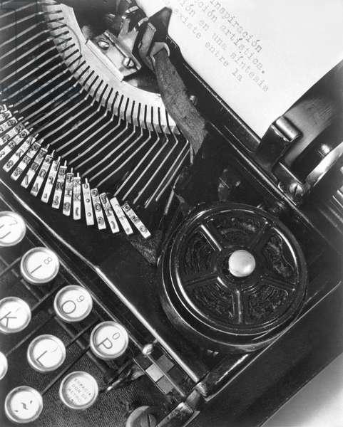 La Tecnica - the Typewriter of Julio Antonio Mella, Mexico City, 1928 (b/w photo)