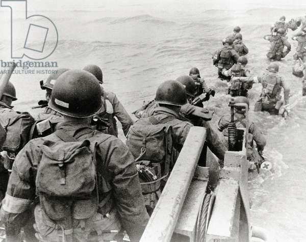 A group of medics is landing on, Utah Beach, Normandy, France, 6th June 1944 (b/w photo)