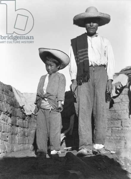 Campesino and Son, State of Veracruz, Mexico, 1927 (b/w photo)