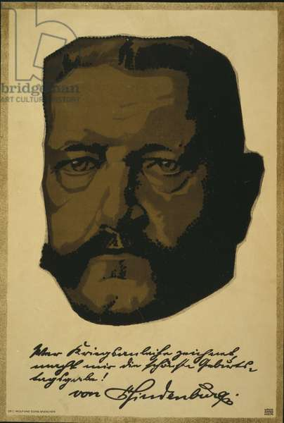 Portrait of General Field Marshall Paul von Hindenburg, 1917 (colour litho)