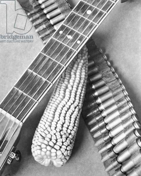 Mexican Revolution, Guitar, Corn and Ammunition Belt, Mexico City, 1927 (b/w photo)
