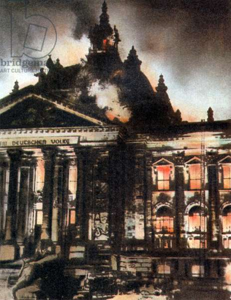 Reichstag Fire, 27th February 1933 (tinted photolithograph)
