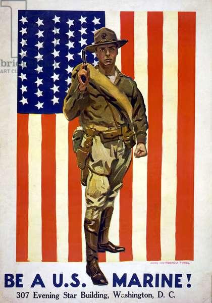 Be a US Marine!, 1918 (colour litho)