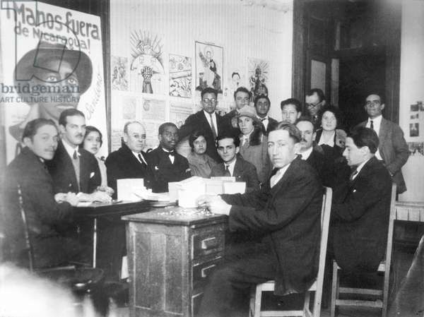 """""""Hands off Nicaragua"""" Committee, Mexico City, 1928 (b/w photo)"""