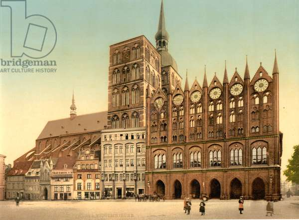 Town hall and St. Nicholas Church, Stralsund, Germany, c.1900 (colour litho)