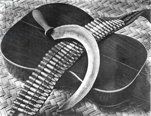 Mexican Revolution: Guitar, Sickle and Ammunition Belt, Mexico City, 1927 (b/w photo)
