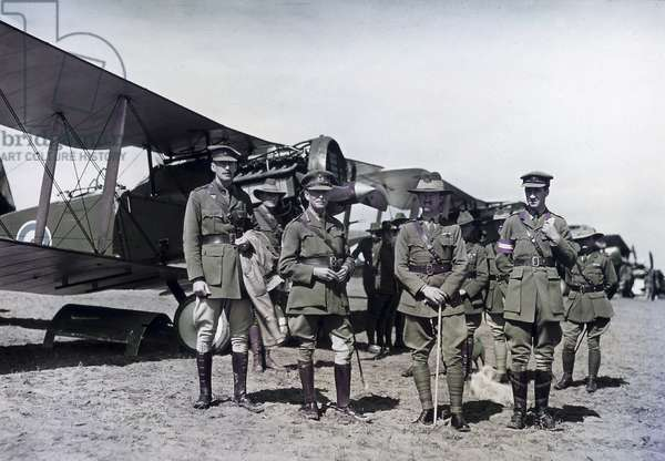 The Australian Lieutenant General Harry Chauvel and other officers inspect the No. 1 Squadron Australian Flying Corps, Palestine, 1918 (colour Paget plate)