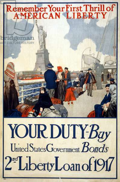 """""""Remember your first thrill of American liberty"""", 1917 (colour litho)"""