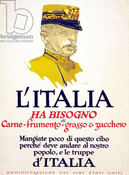 Italy has need of meat, wheat, fat, and sugar, 1917 (colour litho)