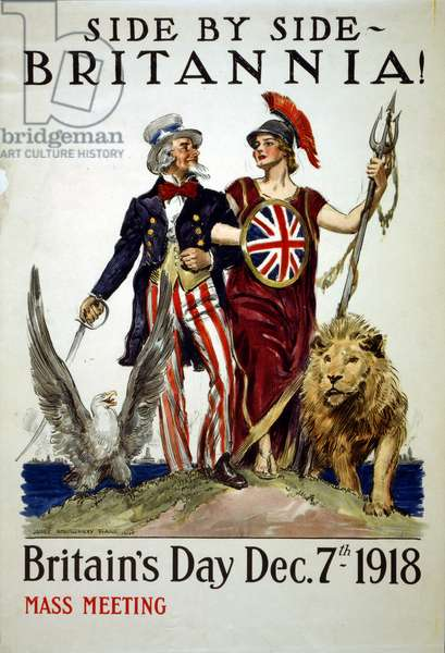 """""""Side by side - Britannia!"""", 1918 (colour litho)"""