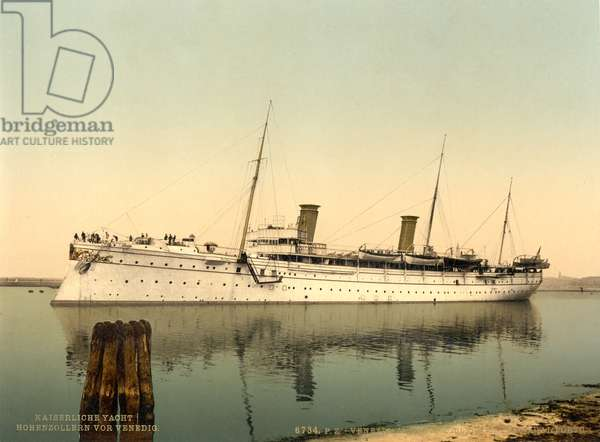 SMY Hohenzollern, leaving the harbour, Venice, Italy, c.1900 (colour litho)