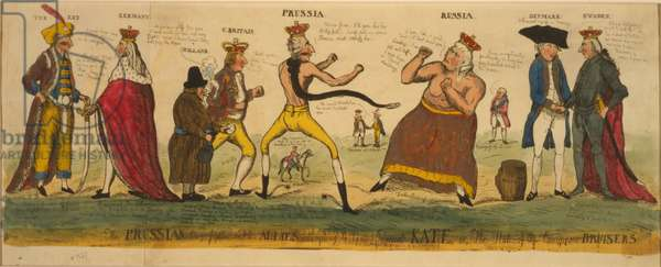 The Prussian prize-fighter and his allies attempting to tame imperial Kate, or, the state of the European bursiers, 1791 (hand-coloured etching)