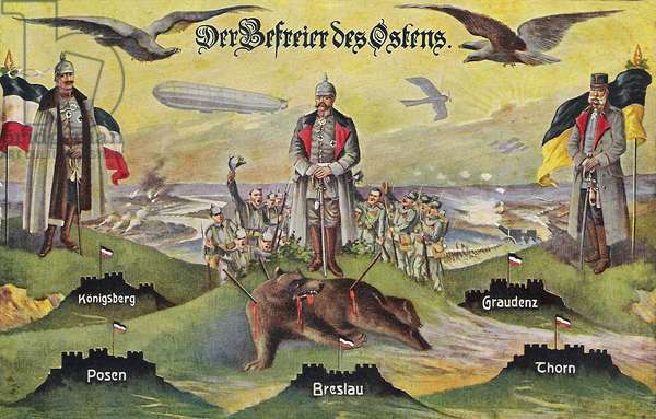 """""""The Liberator of the East. Königsberg - Poznan - Wroclaw - Graudenz - Thorn"""", 1916 (colour litho)"""