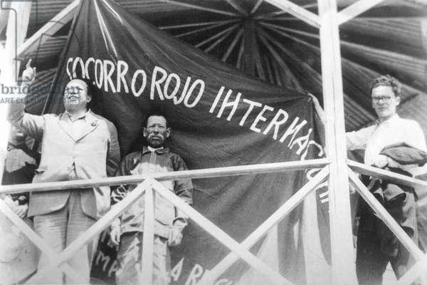 "International Red Aid: Diego Rivera at a Rally of ""Socorro Rojo International"", Tizuyuca (Hidalgo), Mexico, 4th April 1929 (b/w photo)"