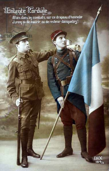 Entente Cordiale - Allies in the Fight, 1915 (colour litho)