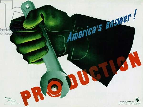 Production: America's Answer!, 1942 (colour litho)