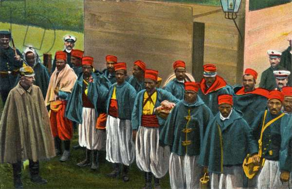 A group of French prisoners of war (Senegalese) in uniform, Germany, 1915 (colour litho)
