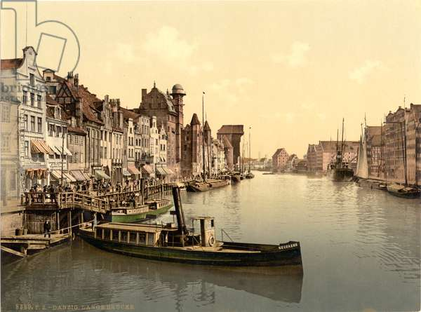 The Great Bridge, Danzig, West Prussia, Germany, c.1900 (colour litho)
