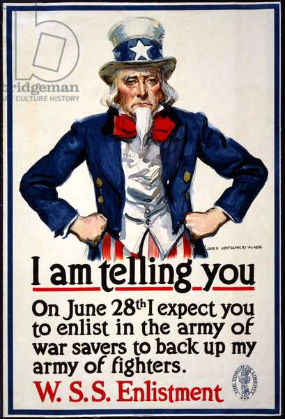 """""""I am telling you - On June 28th I expect you to enlist in the army of war savers to back up my army of fighters"""", 1917 (colour litho)"""