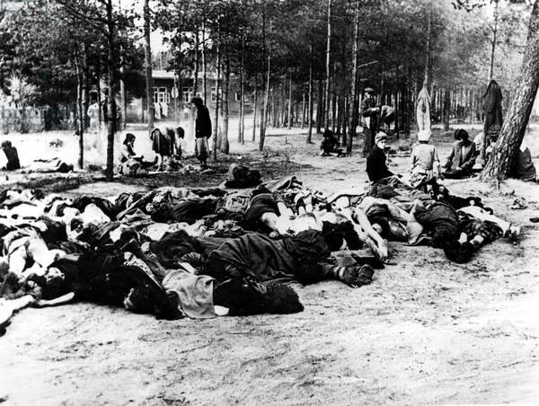 Liberated women at Bergen-Belsen concentration camp stripping the dead of their clothing after the camp had been turned over to the Allied 21st Army Group, 15th April 1945 (b/w photo)