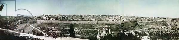 The Holy City: panoramic view, based on three photos taken during the war against the Ottoman Empire, Jerusalem, Palestine, early 1918 (colour Paget plate)