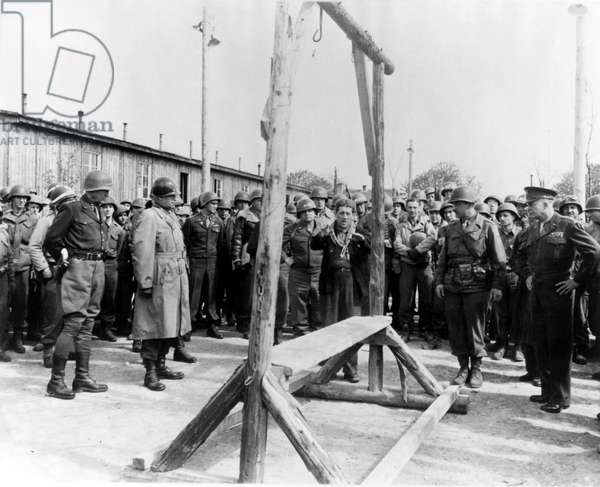 General George S. Patton, General Omar Bradley and General Dwight D. Eisenhower visiting Ohrdruf concentration camp near Gotha in Germany, following its liberation by US troops, 12th April 1945 (b/w photo)