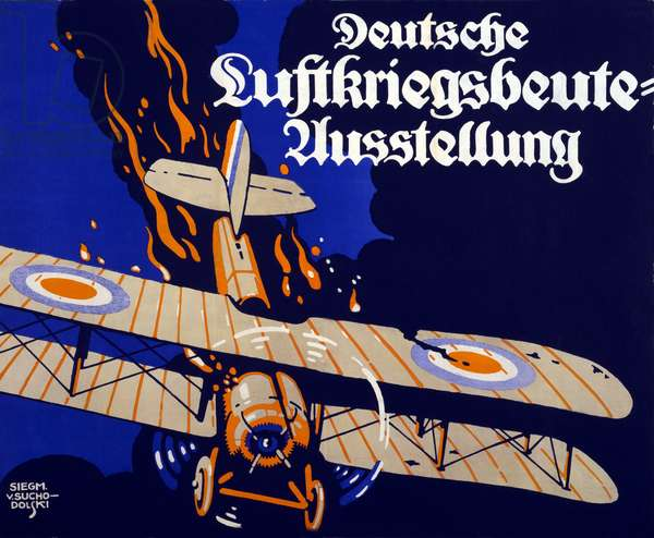Poster advertising the German air war booty exhibition, 1918 (colour litho)