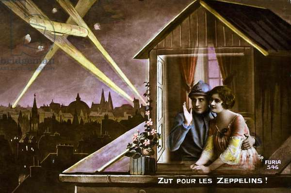 Damn The Zeppelins!, 1915 (colour litho)